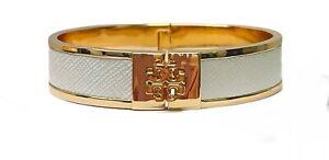 Tory Burch Kira Enameled Raised Logo Bracelet White