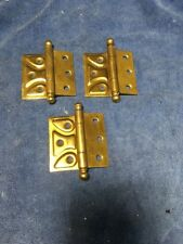 "SET OF 3 VINTAGE 2 1/2"" ORNATE BRASS PLATED HINGES 3/8"" OFFSET"