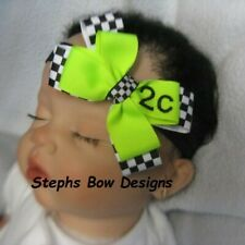 Black White Racing Flag U pick Colors Layered Hair Bow Headband Custom # Nascar