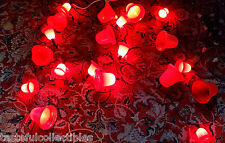 25 Hard Plastic Red Christmas Bell Lights 23 foot String Some Frosted /Some NOMA