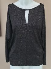 New Look Glitter Top Size 10 Black Silver Dot Lurex Keyhole Night Out Party