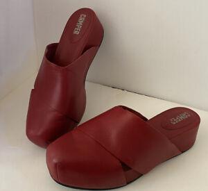 Camper Mule Red Canvas Slip On Platform Shoes 41 10 11