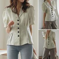 Womens Puff Short Sleeve Button V Neck Blouse Casual OL Formal Dress Shirt Tunic