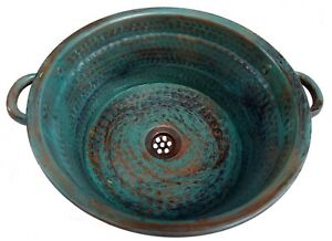 Green Patina Aged Rustic Oxidized Copper Pan Bathroom Renovation Vessel Sink