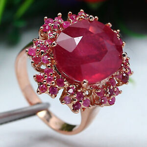 NATURAL 12 X 14 mm. OVAL RED RUBY & PINK SAPPHIRE RING 925 STERLING SILVER
