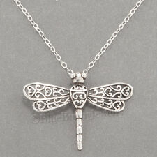 "DRAGONFLY Necklace Charm Pendant STERLING SILVER Garden animal 18"" 925 chain"
