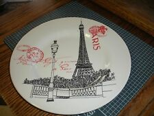 """NEW CARLY DODSLEY Paris Eifffel Tower 11"""" PLATE (s) Made In England"""