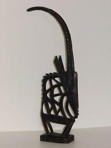 ART-AFRICAIN CIMIER SCULPTURE FIGURE ANTILOPE STYLISÉE BAMBARA MALI ANCIEN 1950