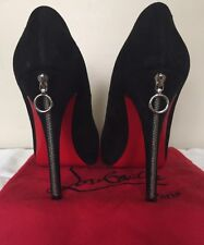Christian Louboutin Rolando Zip 120 Black Suede Heels Shoes Size 38 Rare Find