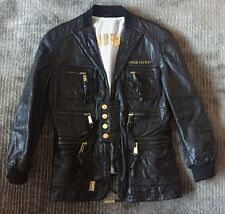 Women's DSquared2 Logo Black Gold Leather Bomber Jacket sz IT 44 US 8