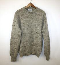 Winona Knits Voyageur Sweater 100% Wool Oatmeal Flecked Multi Color Mens Medium