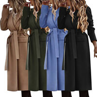 WOMENS LADIES LONG WOOLEN TRENCH CARDIGAN COAT WINTER WARM JACKET OVERCOAT