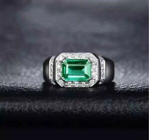 Natural Emerald Gemstone Real Diamond 18K Solid White Gold Men's Ring Jewelry