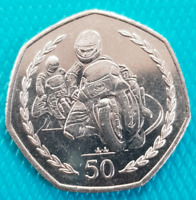 TT Motorbike Races Isle Of Man 1997 50p Pence Coin Near Uncirculated AA Die Mark