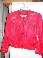 Lanna brand Red Leather  women suit, jacket/short skirt, tassels on jacket, 4P