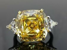 925 Sterling Silver Yellow Cushion White Triangle Three Stone Cz Ring-Magnifique