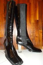 D&G Dolce&Gabbana Lack Leder Stiefel Chromabsatz, 39 black patent leather boots