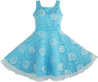 Flower Girl Dress Blue Rose Wedding Pageant Size 3 4 5 6 7 8 9 10 11 12 Formal
