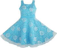 Flower Girl Dress Blue Rose Wedding Pageant Size 3 4 5 6 7 8 9 10 11 12 Formal