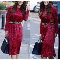 Zara Red Leopard Long Sleeve Loose Relaxed Midi Dress XS S 6 8 US 2 4 Blogger❤