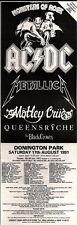 """20/4/91Pgn41 Pubblicità: AC/DC i Metallica & More LIVE AT """"MOSTRI DEL ROCK' 15x5"""