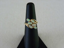 14K Opal Cluster Yellow Gold Ring with Diamond Accents Size 6.5 Beautiful