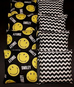 Smiley Be Happy Yellow and Black Chevron  8  ACA Regulation Corn Hole Game Bags