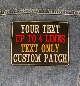 LARGE CUSTOM TEXT PATCH PERSONALISED SEW ON FELT BIKER SCOOTER EMBROIDERED PATCH