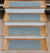 """Rug Depot Set of 14 Looped Non Slip Carpet Stair Treads 28""""x9"""" Slate Grey Nylon"""