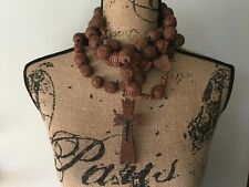 French antique vintage old carved wooden Rosary Beads wood cross Lourdes Monks
