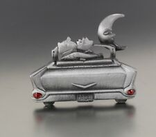 VINTAGE SILVER TONE 57 CHEVY CAR CAT MOON PIN BROOCH SIGNED AJC