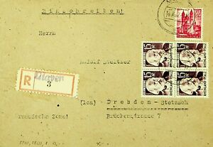 GERMANY 1947 POST WWII 15pf KARL MARX B4+ 24pf ON MAYEN REGD COVER TO DRESDEN