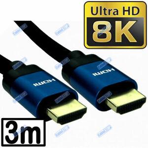 V2.1 BLUE 3m ULTRA HD 8K HDMI LEAD SKYQ PS4 XBOX TV CABLE