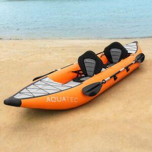 AquaTec Inflatable Kayaks [1/2 Person]   LUXURY CANOE BOAT + Paddle, Pump, Bag