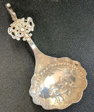 1892 Sterling Tea Caddy Spoon Dutch S B Landeck London Repousse Hallmarked