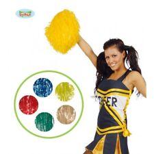 18503 - Pom Pom Colorati Cheerleader American College Accessori Travestimento Ca