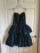 Jessica McClintock Blue Taffeta christmas Formal Dress Size 9 10 New w/out Tag -