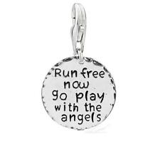 """""""Run free now go play with the angels """" Clip on lobster clasp charm Pet Memorial"""