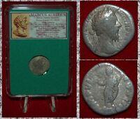 Ancient Roman Empire Coin MARCUS AURELIUS Emperor On Reverse Silver Denarius