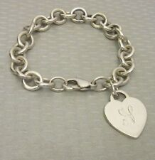 "auth Tiffany & Co 925 HEART CHARM BRACELET 7"" rolo link sterling mono N 34.9g"
