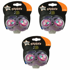 3x TOMMEE TIPPEE Explora 6-18 month Baby Girl BPA Free Latex Cherry Teat Soother