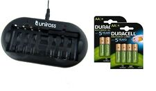 UNiROSS 8 Position  FAST AA/AAA BATTERY CHARGER & 8 x AA 2500 mAh DURACELL BATTS