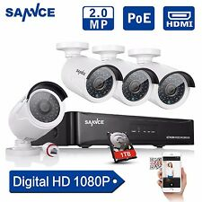 SANNCE 1080P4CH  NVR PoE IP Surveillance Security 1TB Network CCTV Camera System