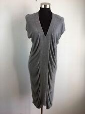 Zero Maria Cornejo Womens Dress M Medium Gray Sheath Drape V Neck Bamboo Knit