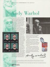 #657 37c Andy Warhol Stamp #3652 USPS Commemorative Stamp Panel