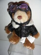 OLD TIME MOTORCYCLE BEAR PLUSH WITH LEATHER JACKET AND GOGGLES