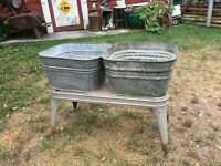 WHEELING Galvanized Metal Double Washtub Stand with Tubs , Farm Garden Planter