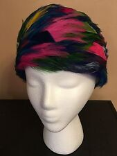 Vintage Christian Dior multicolor feather pillbox hat with hatbox. FABULOUS!
