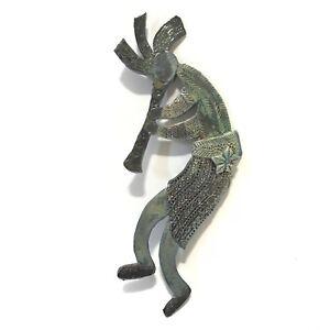 Kokopelli Wall Decor Figure Indoor Humpbacked Art Clay Deity Tribal Flute Green