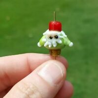 (1) Kawaii Gnome Santa Christmas Handmade Lampwork Glass Rare Bead DIY Focal Man